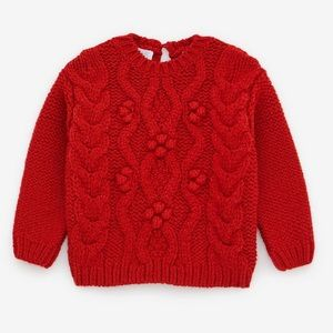 🟠 NWT ZARA Cable Knit Sweater in Red 12-18 Months